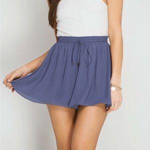 Amor Adore Blue Flowy Tie Shorts S M L